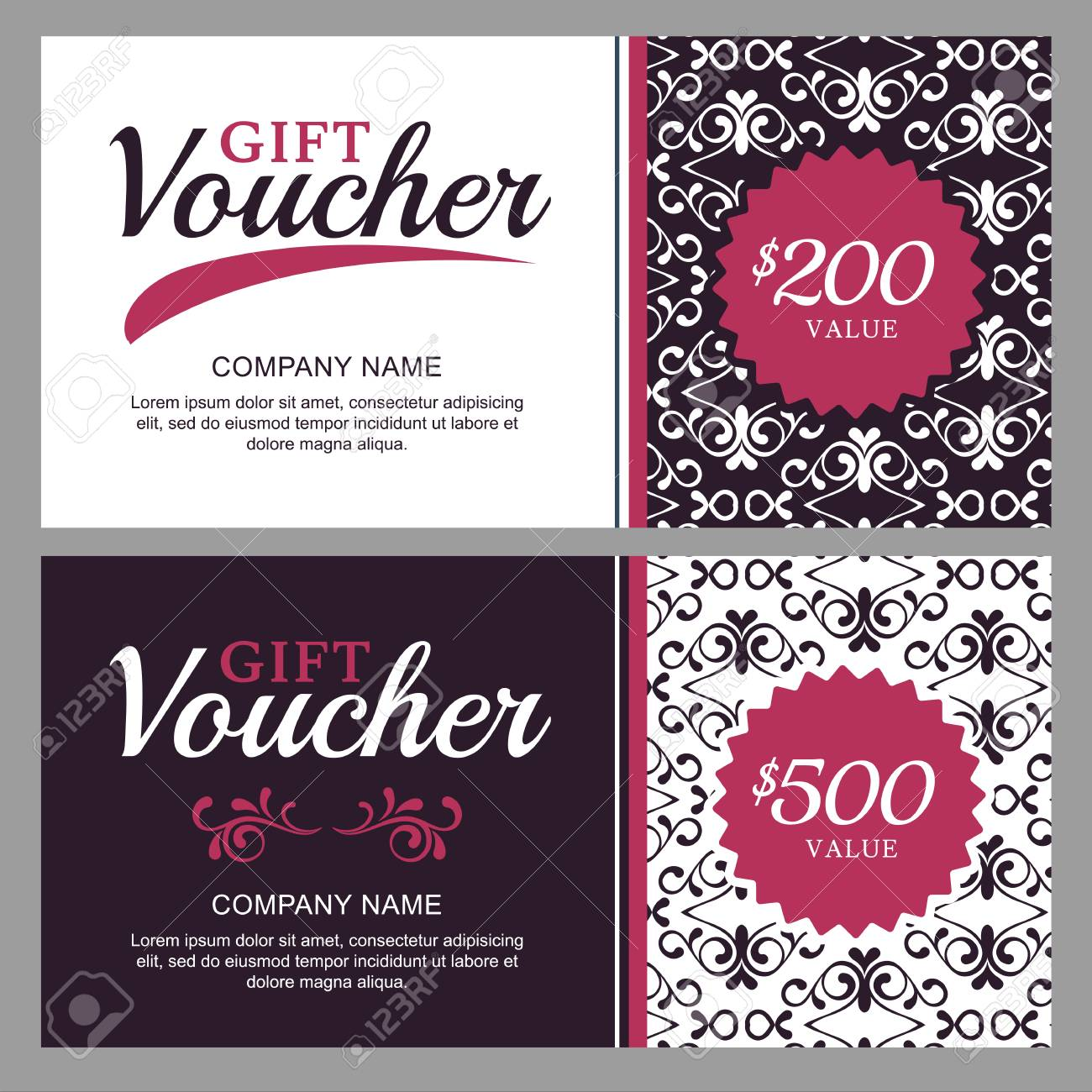 Vector Gift Voucher With Black And White Ornament Background ...