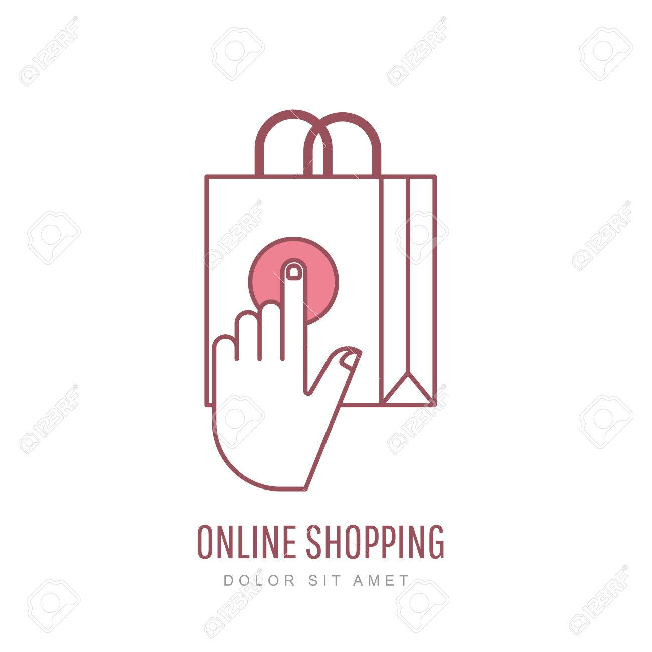 ad51671379 Online shopping and e-commerce linear style illustration. Vector logo design  template. Hand