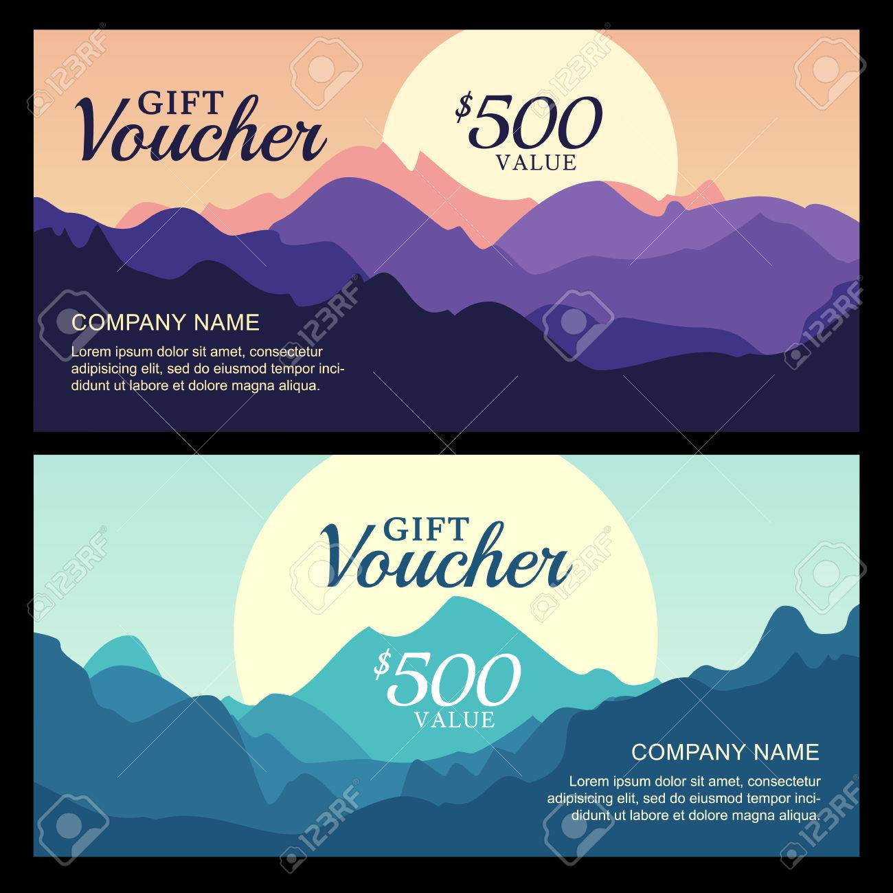 Vector gift voucher with mountain landscape view business card vector gift voucher with mountain landscape view business card template nature background abstract magicingreecefo Images