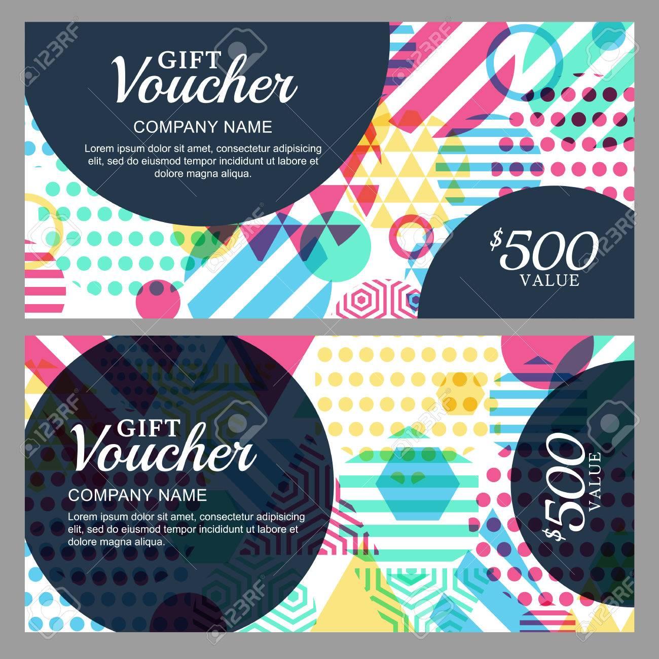 Vecteur Bon Cadeau Avec Motif Gomtrique Color Modle De Carte