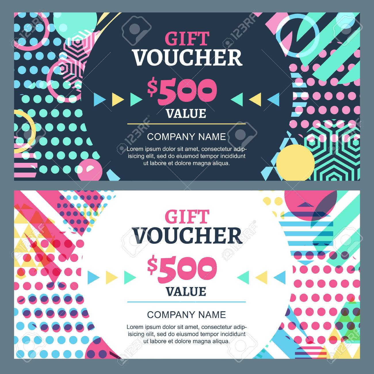 Vector gift voucher with colorful geometric pattern and round frame business card template abstract creative background concept for boutique fashion shop accessorize flyer banner design reheart Choice Image