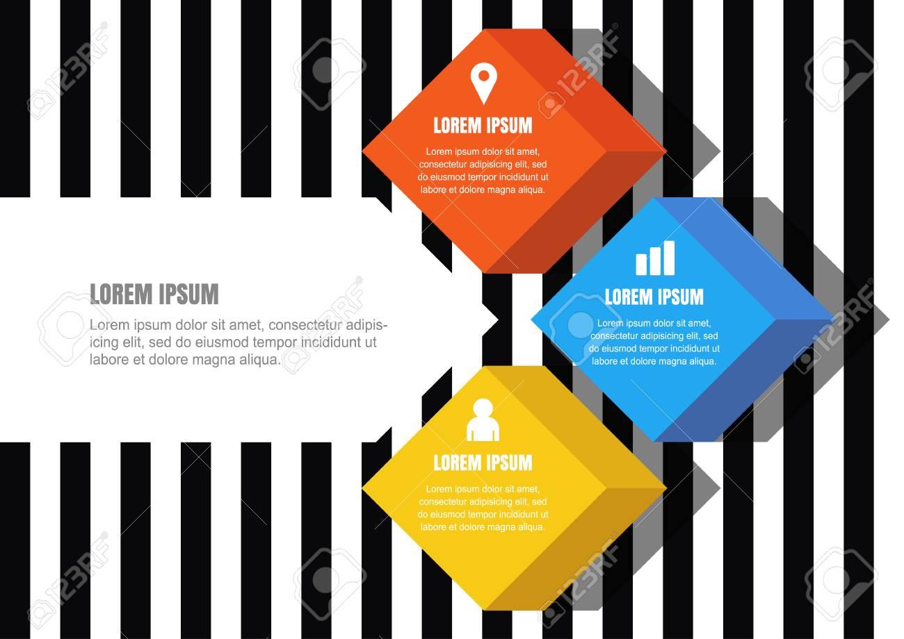 Vector Infographies De Conception Universelle Abstraite Multicolor Cube De Style à Plat Sur Seamless Fond Rayé Modèle Daffaires Brochure