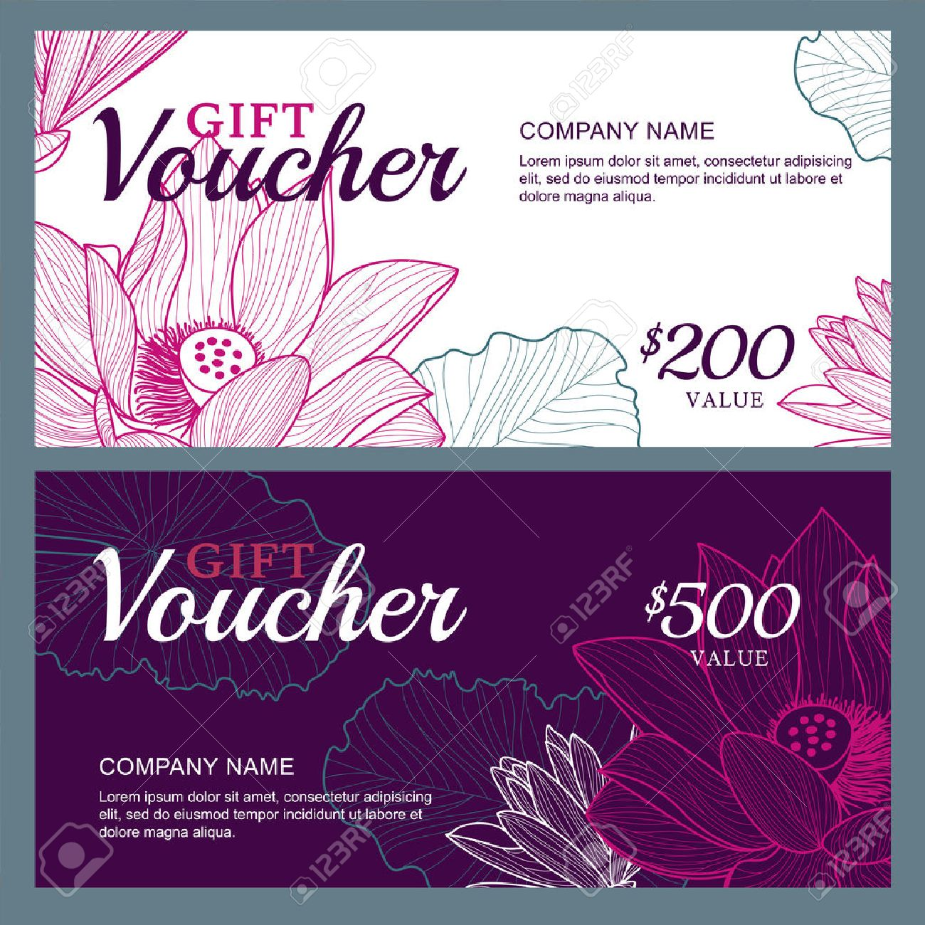Vector gift voucher template with lotus, lily flowers. Business floral card template. Abstract background. Concept for boutique, jewelry, floral shop, beauty salon, spa, fashion, flyer, banner design. - 47876466