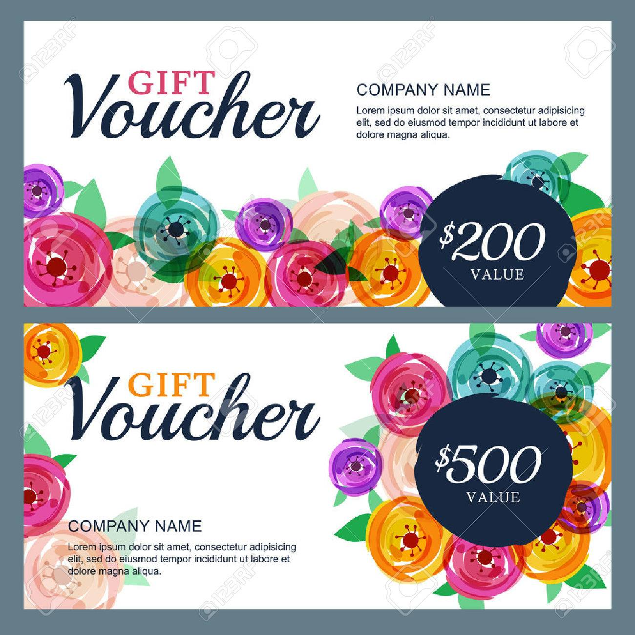 Vector Gift Voucher Template With Decorative Rose Flowers Background.  Business Floral Card Template. Concept  Business Voucher Template