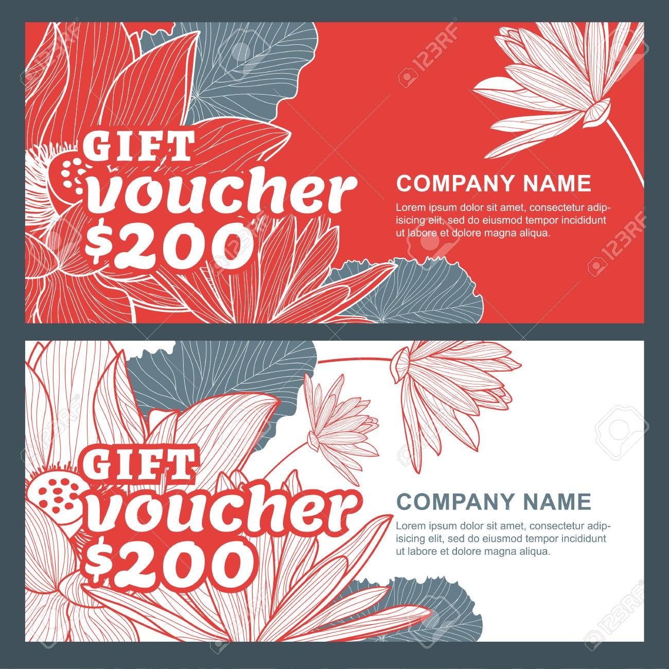 Vector gift voucher with lotus, lily flowers  Business floral