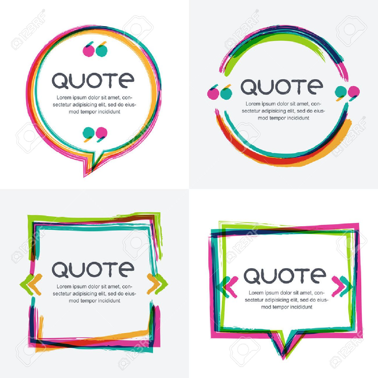 Stock illustration 3d red text quot yes quot stock illustration royalty - Vector Set Of Quote Forms Template Colorful Bright Backgrounds Watercolor Brush Frame Blank