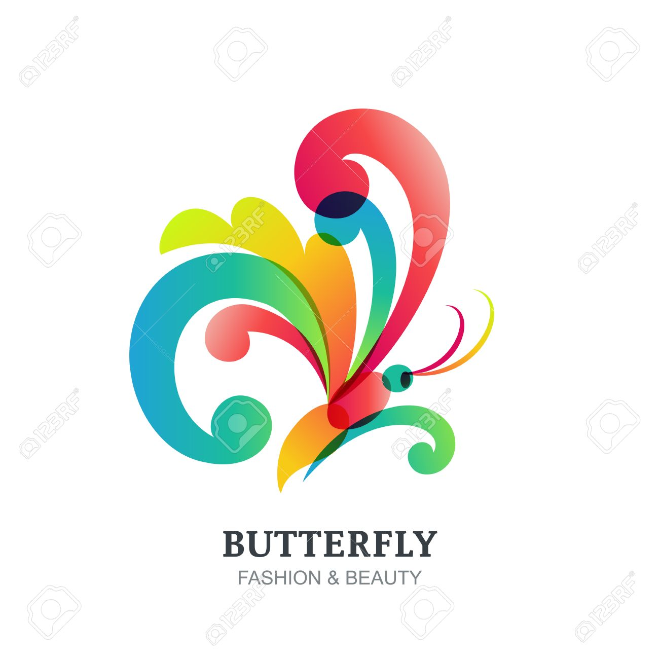 Vector Illustration Of Colorful Transparent Butterfly Abstract Creative Logo Sign Design Modern Concept For