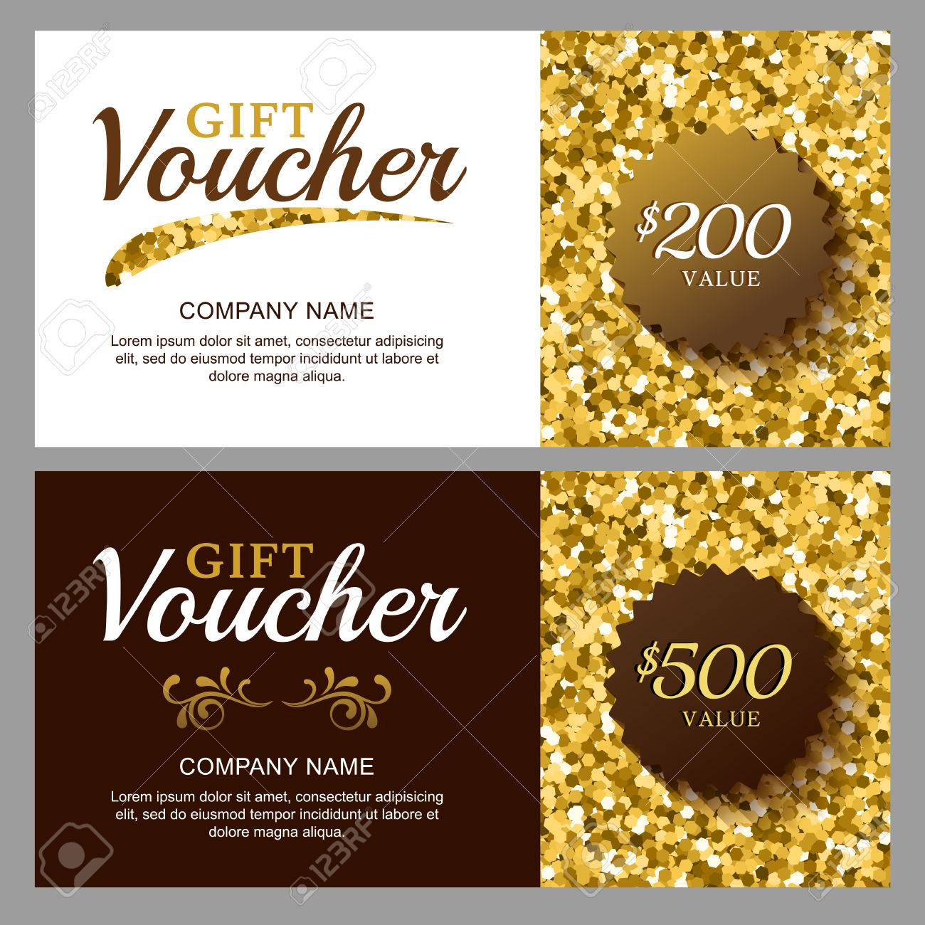 Vector Gift Voucher With Golden Sparkling Pattern. Business Card ...