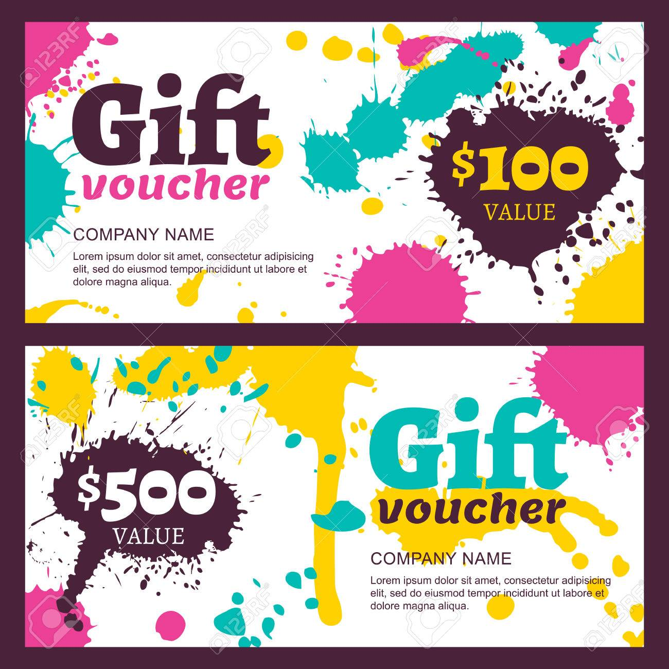 Vector gift voucher with watercolor colorful splashes blots business card template abstract creative background for gift card concept for boutique fashion shop flyer banner design reheart Choice Image
