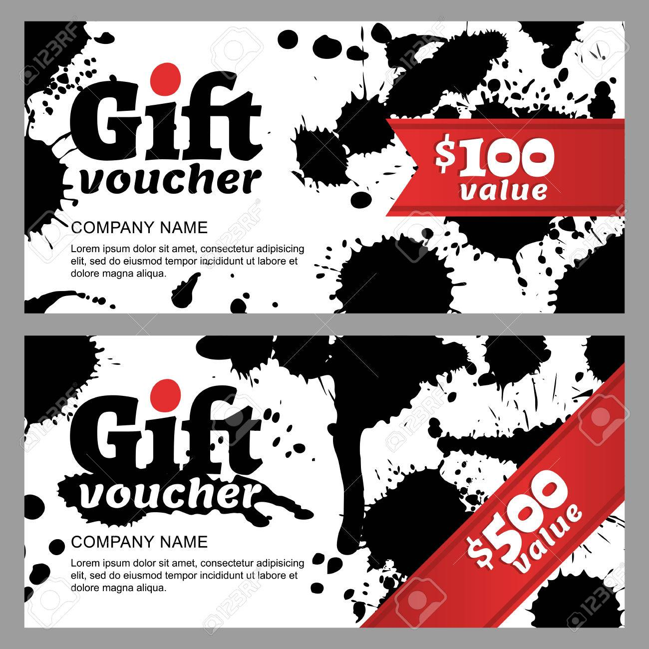 Vector gift voucher with black ink splashes business card template business card template abstract watercolor background gift card design grunge illustration concept for boutique fashion shop flyer banner design reheart Choice Image