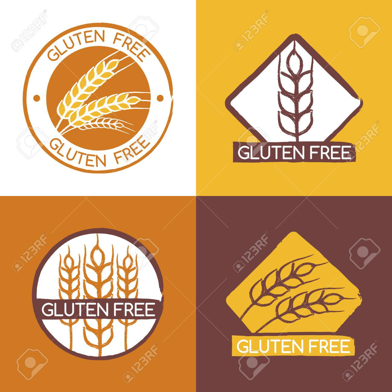 Set of vector gluten free product badges, labels, stickers  Wheat