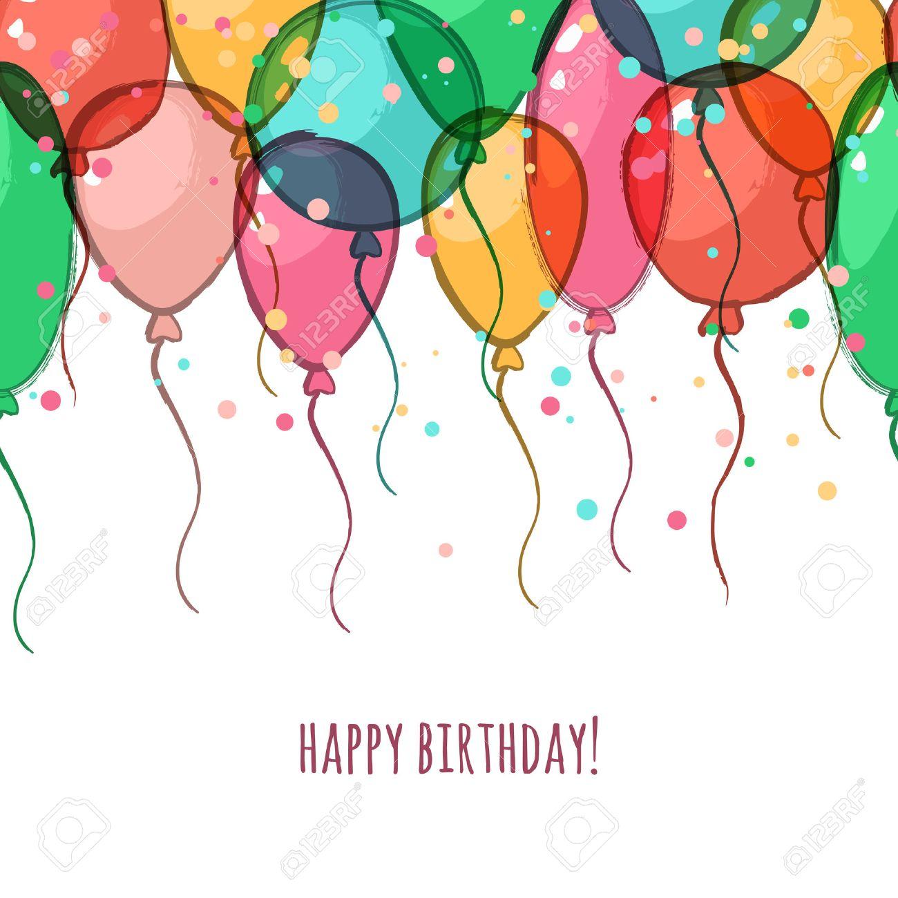 Famoso Biglietto Di Auguri Di Compleanno Con Palloncini Colorati Aria  CG47