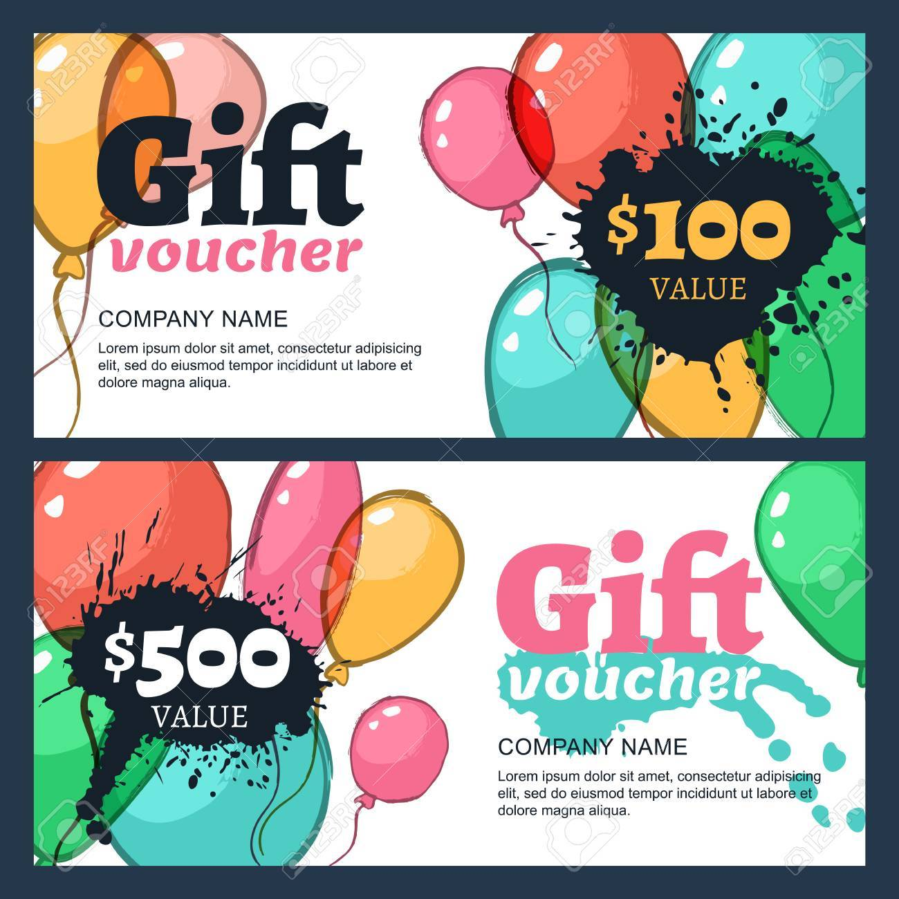 Vector gift voucher with watercolor air balloons business card business card template abstract creative background for gift card concept for flyer banner design event agency celebration party reheart Choice Image