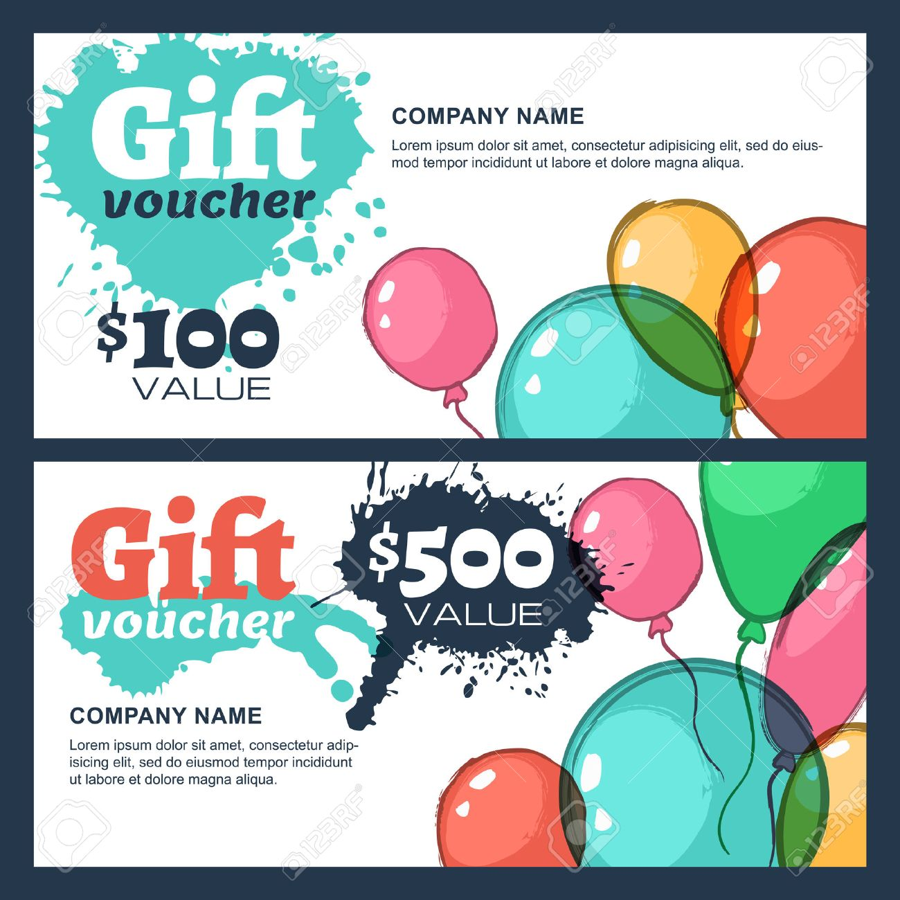 Vector Gift Voucher With Watercolor Air Balloons. Business Card ...