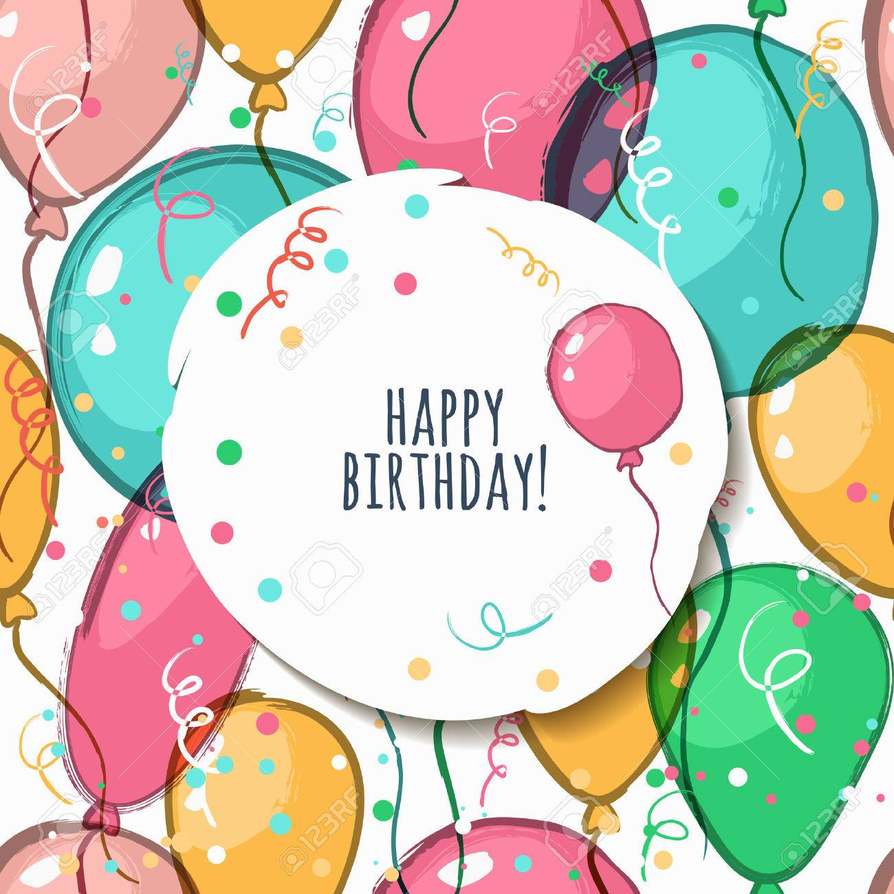 Vector Birthday Card With Seamless Pattern Illustration Of – Vector Birthday Cards