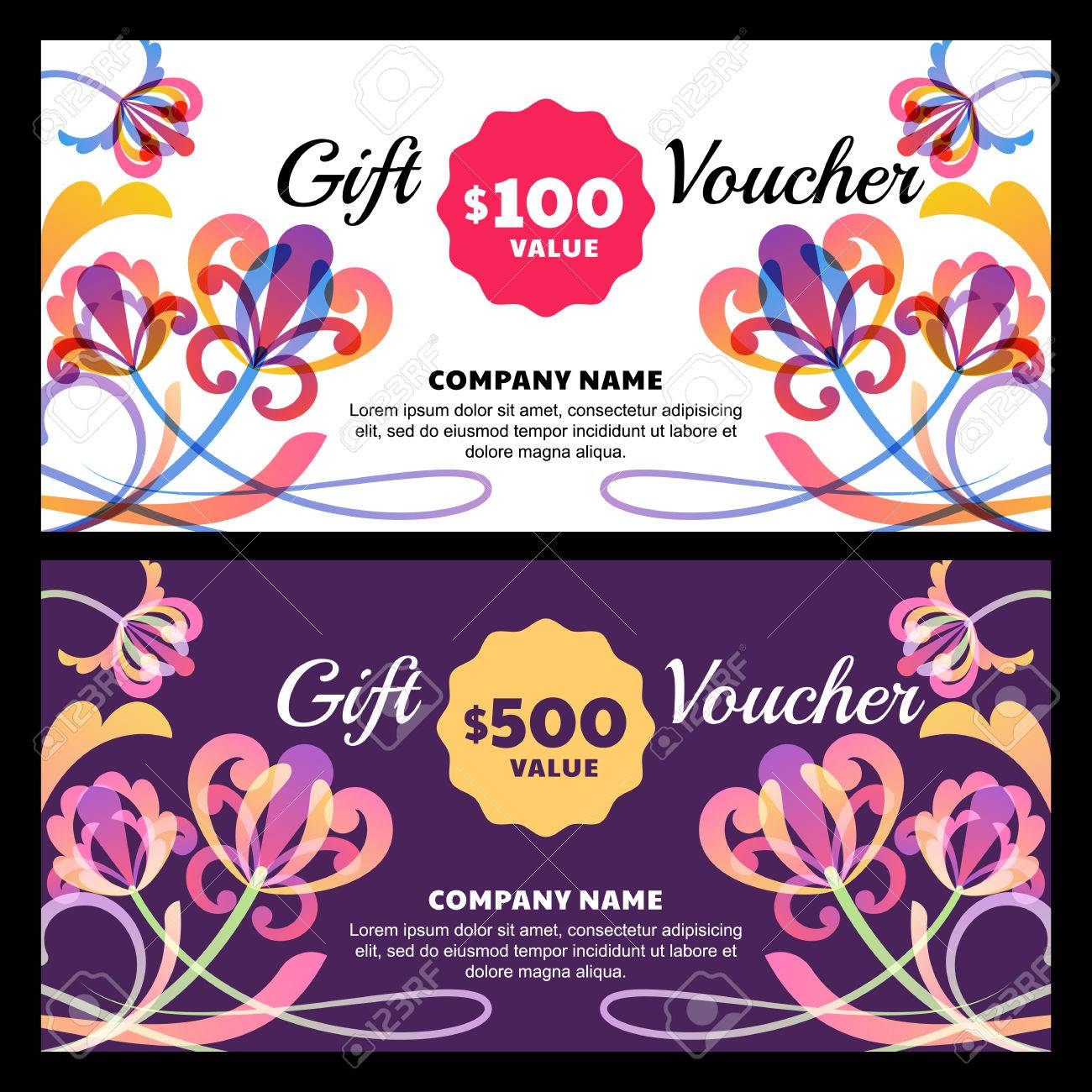 Vector Gift Voucher With Tropic Flowers. Business Card Template ...