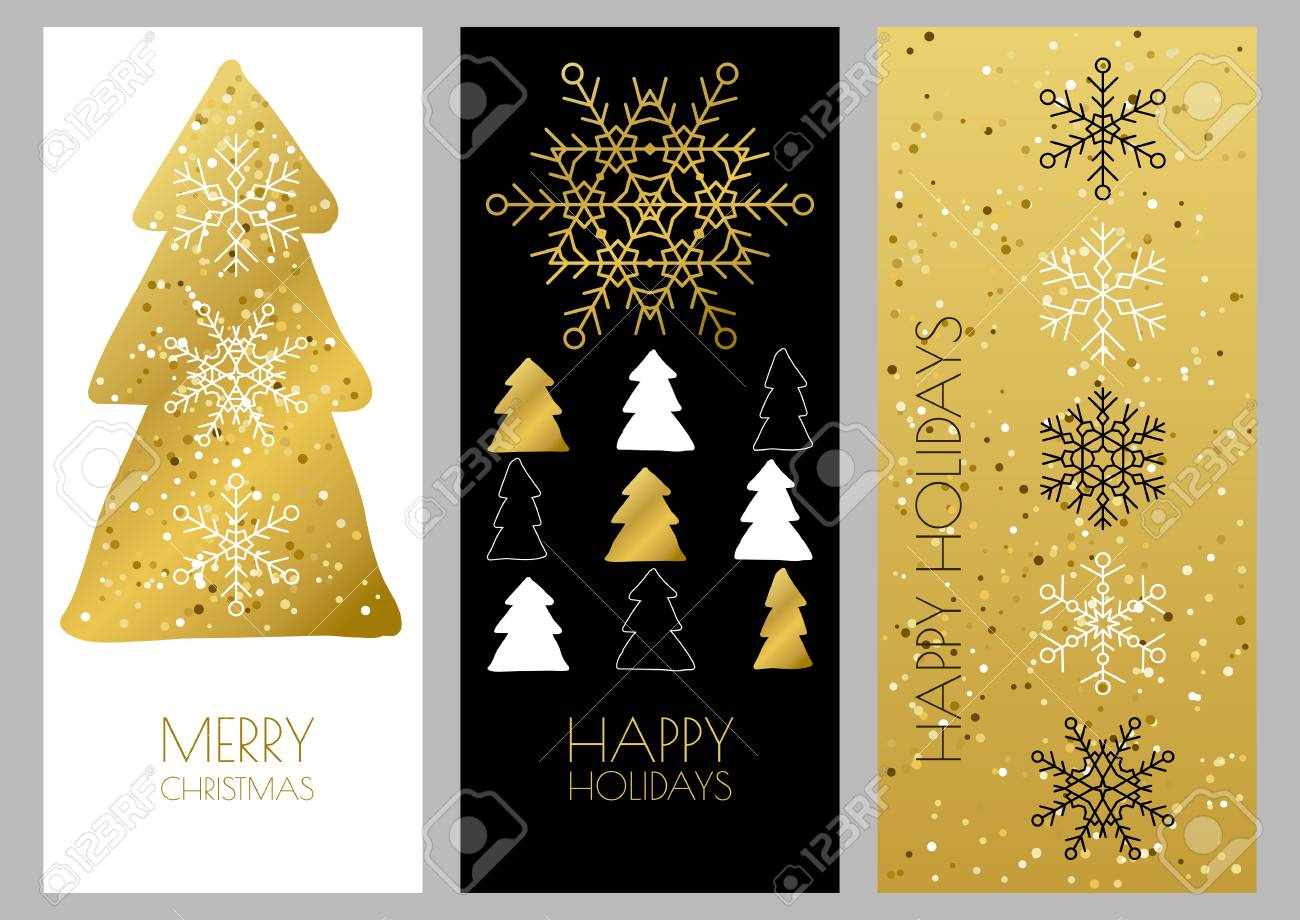 Set Of Vector Golden Outline Christmas Or New Year Greeting Cards