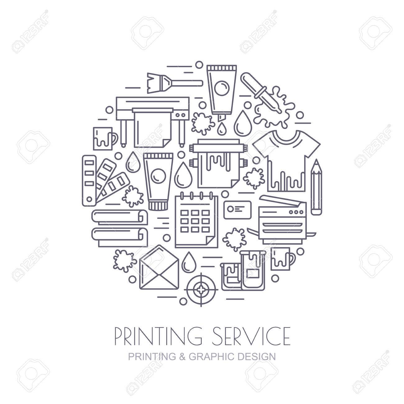 Vector outline icons set, logo and design elements. Concept for copy center, printing service, publishing design. Printer, paints, paper, corporate identity line illustration. Abstract background. - 51789199