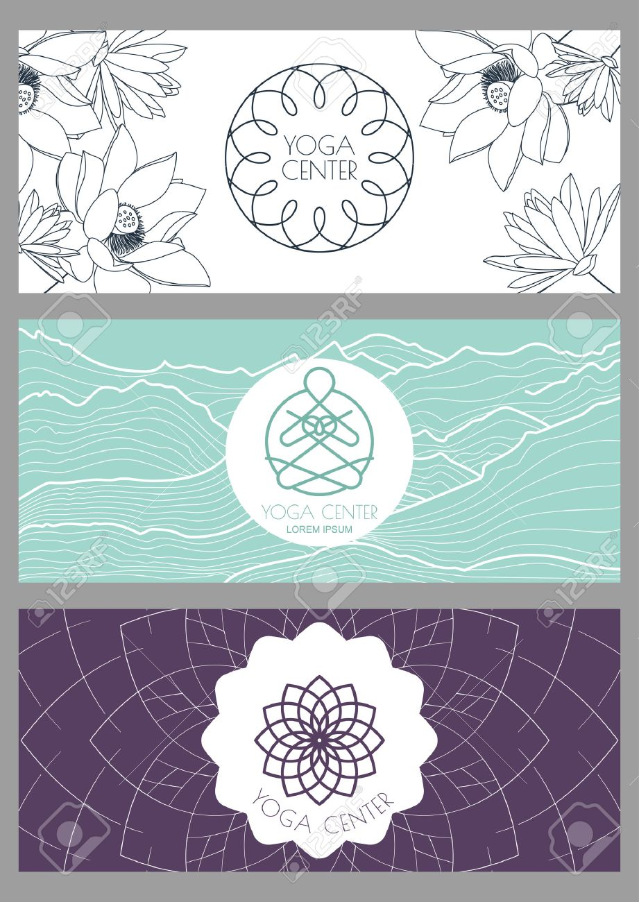 Set Of Vector Backgrounds, Flyers, Banners Template For For Yoga ...