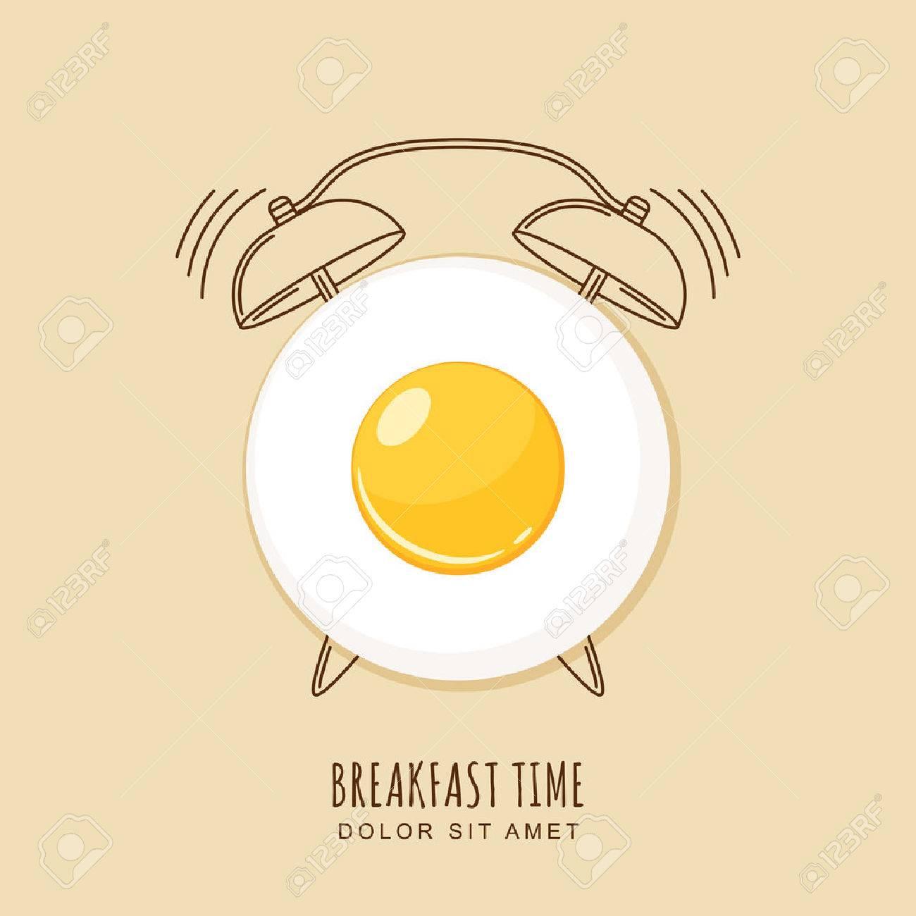 Fried egg and outline alarm clock, illustration of breakfast. Concept for breakfast menu, cafe, restaurant. design template. Food background. - 51644060