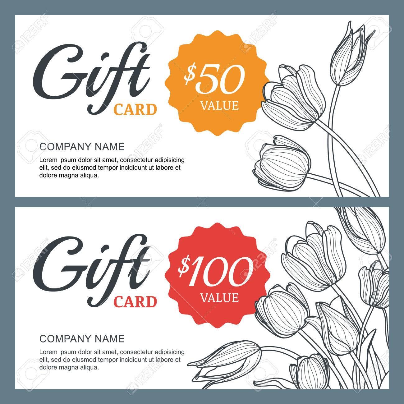 Vector floral gift voucher background template  Vintage outline