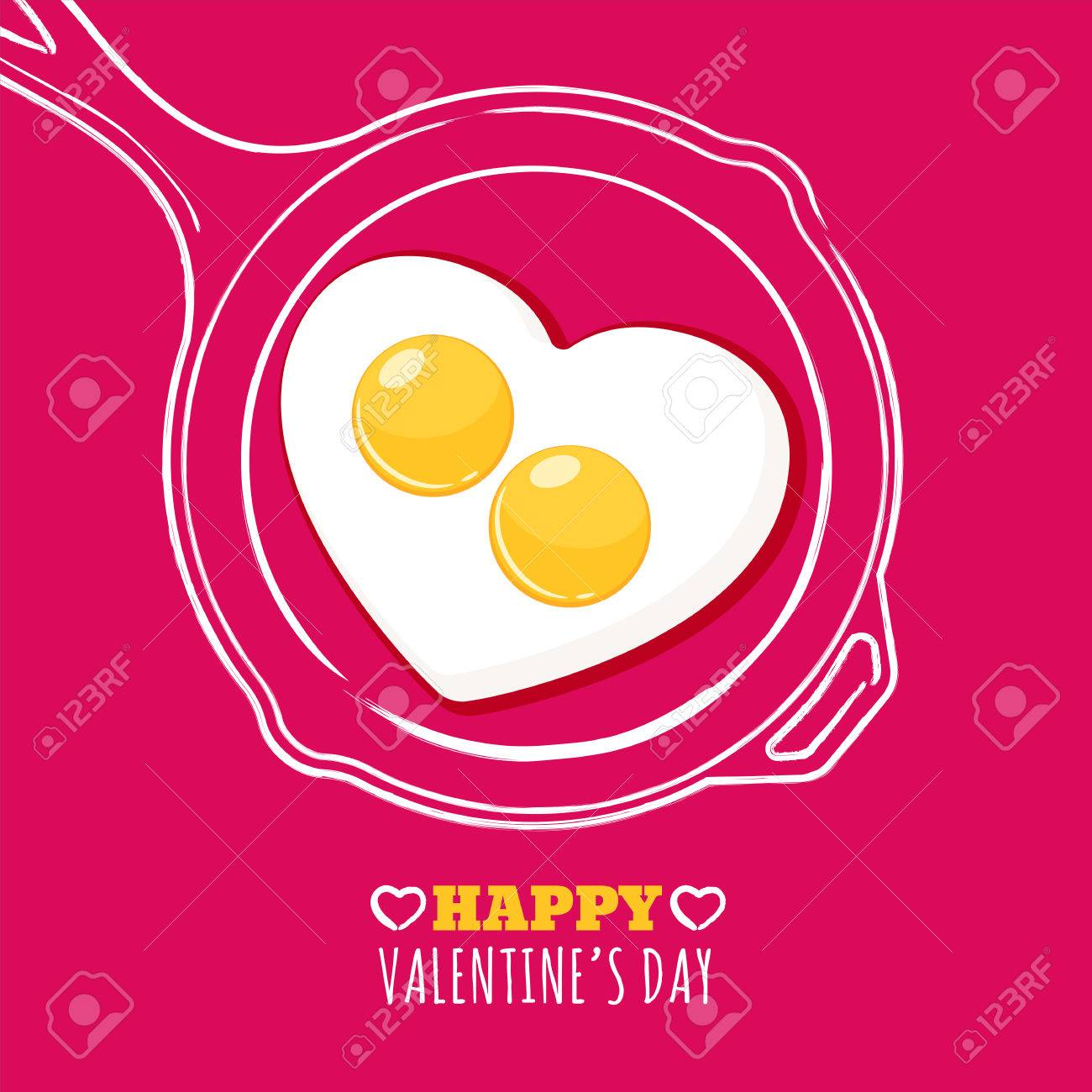 Valentines day greeting card with romantic breakfast illustration. Fried egg in heart shape and hand drawn watercolor pan. Concept for holiday menu in cafe or restaurant, banner, poster design. - 52176422