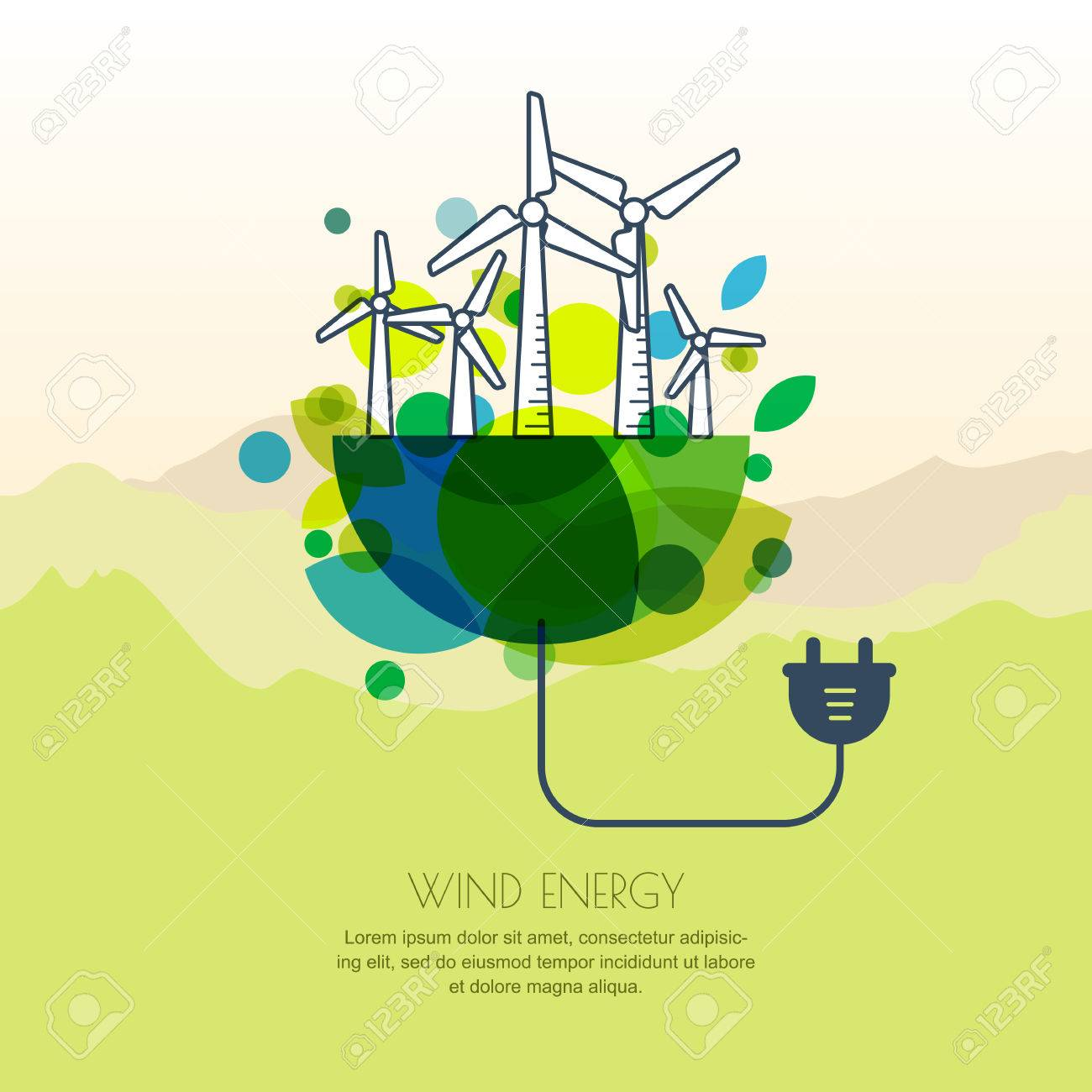 Vector Illustration Of Earth With Wind Turbines And Wire Plug Generator Diagram Alternative Energy Background Design For Save Day