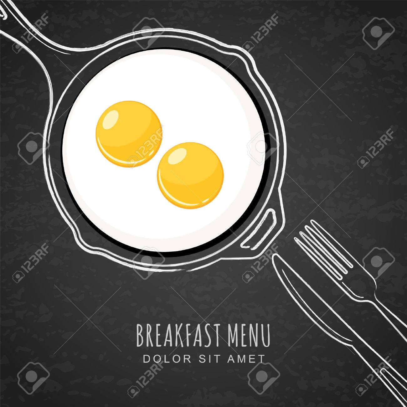 Fried eggs and hand drawn outline watercolor pan, fork and knife. White chalk drawing on black board background. Vector trendy design for breakfast menu, cafe, restaurant. Fast food background. - 52176426