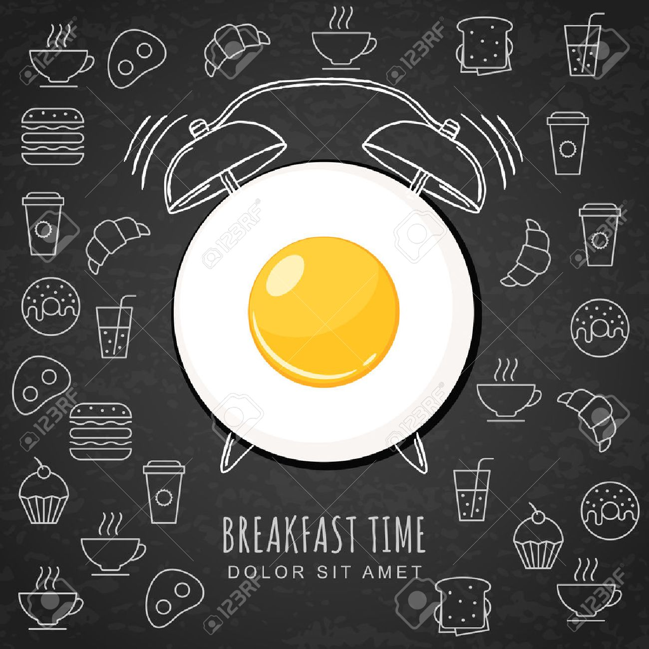 Fried egg and hand drawn watercolor alarm clock on textured black board background with outline food icons. Vector design for breakfast menu, cafe, restaurant. Fast food background. - 52160856