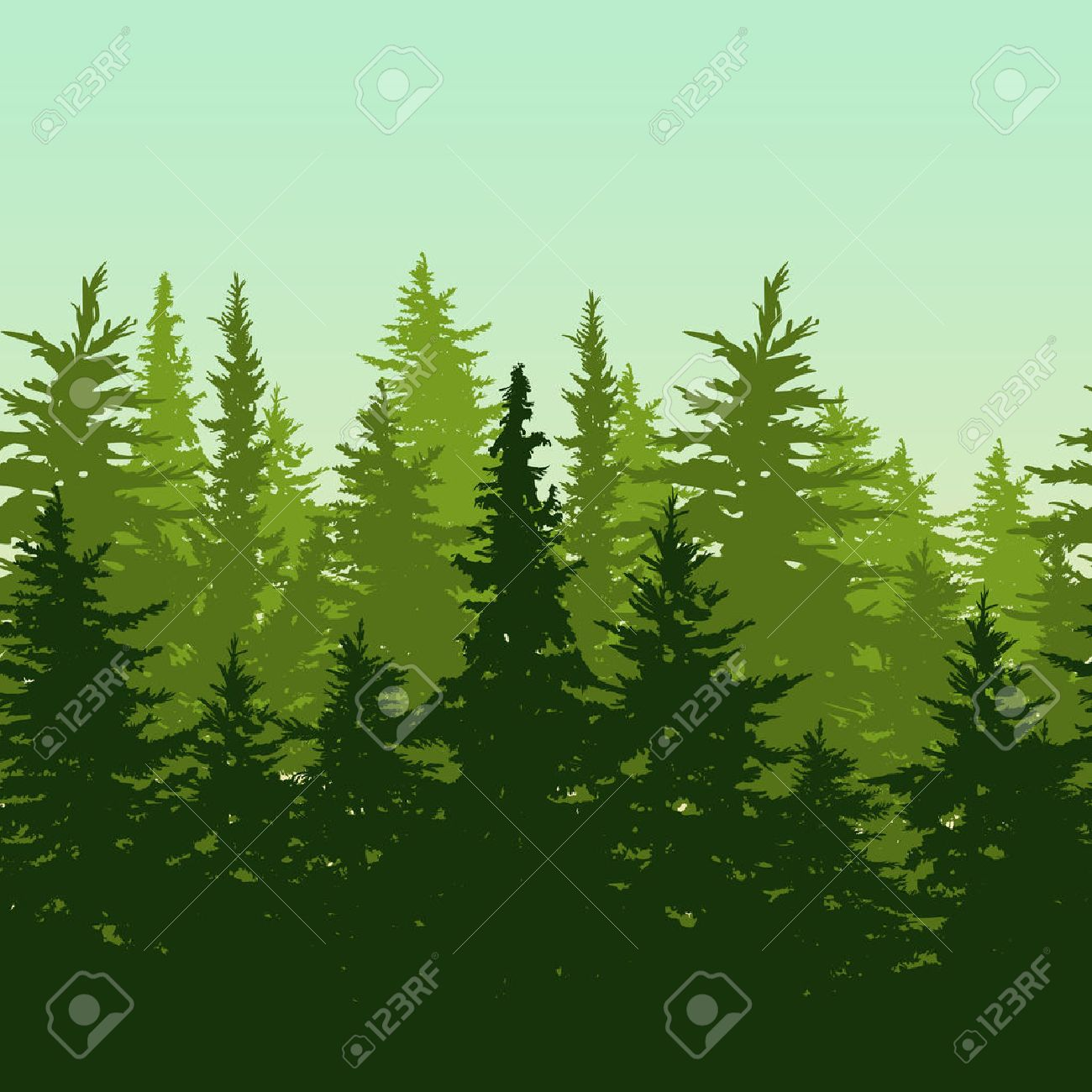 Vector horizontal seamless background with green pine or fir-tree forest. Nature background with evergreen trees. Design concept for environmental, ecology, protection nature or travel themes. - 52161364