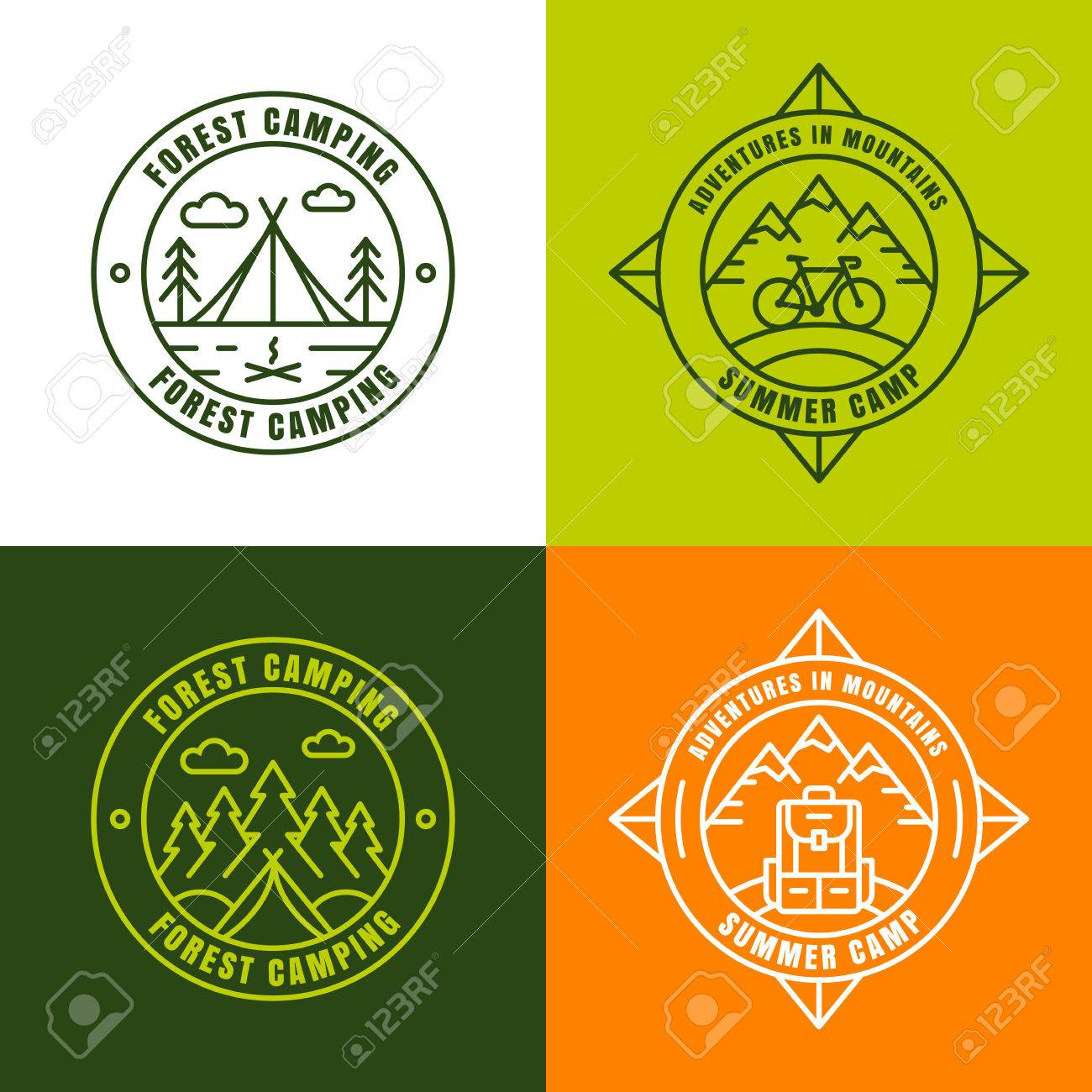 summer camping outline logo design elements set of badges