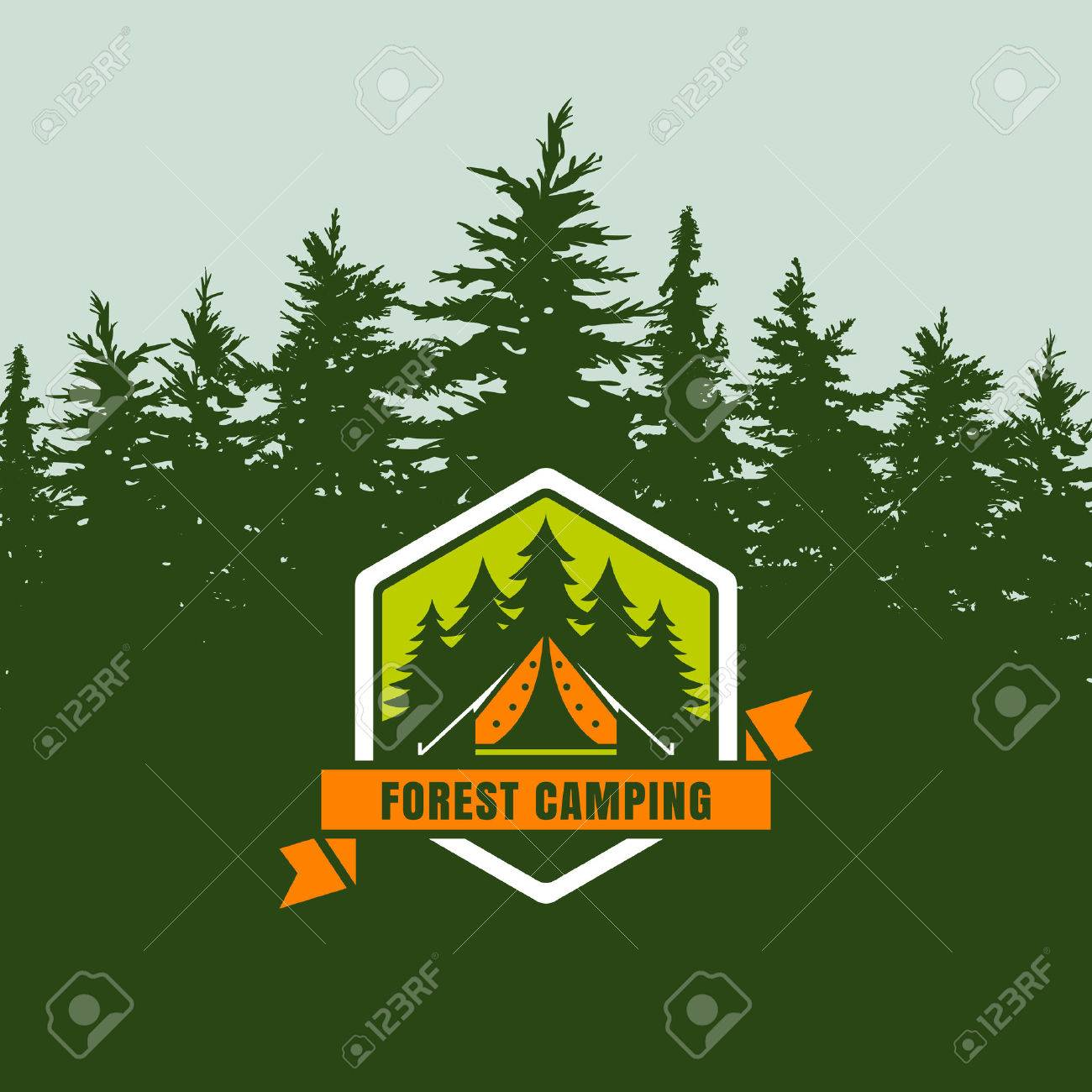 forest camping logo emblem or label on background with green