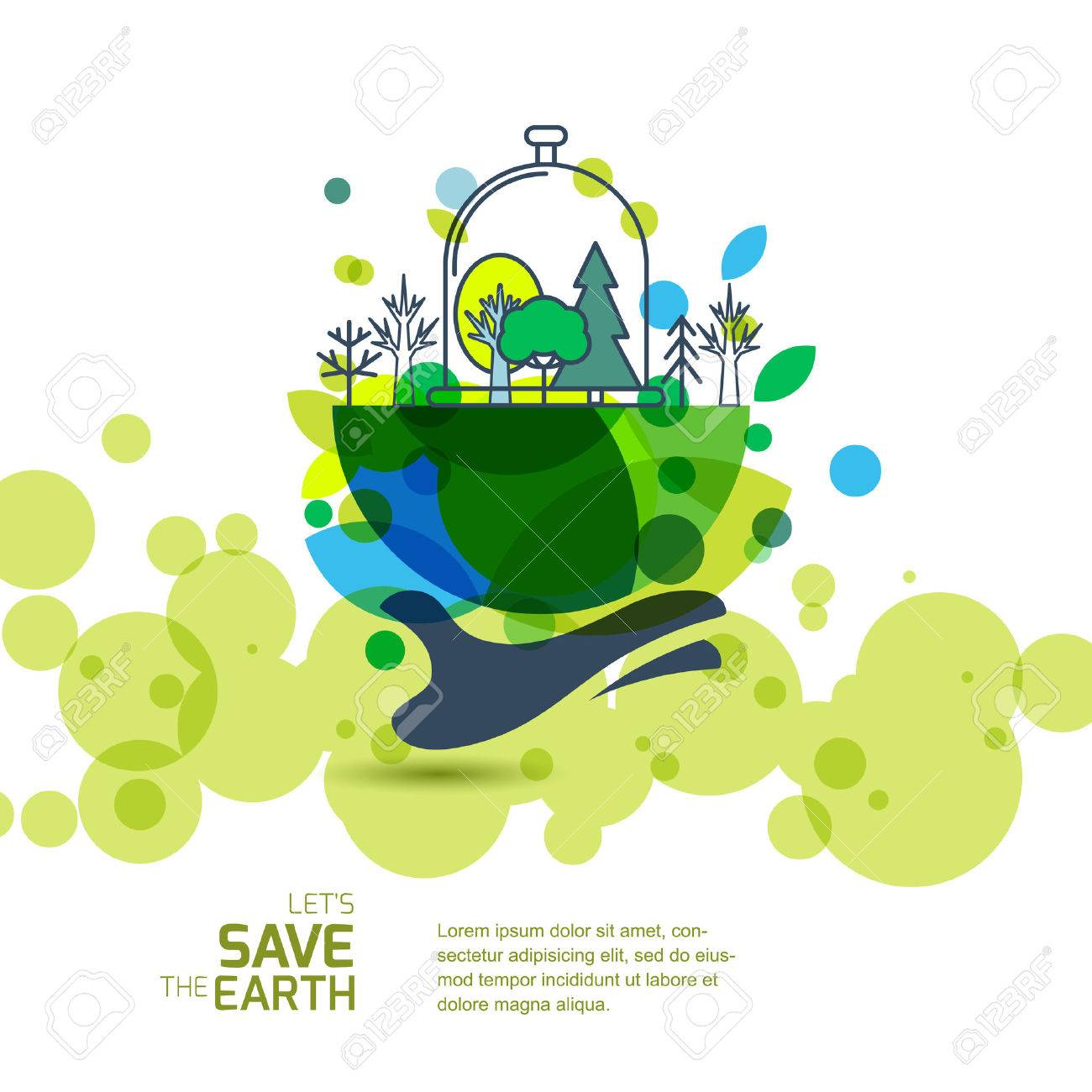Human Hand Holding Green Earth With Trees Banner Background Design For Save The Day