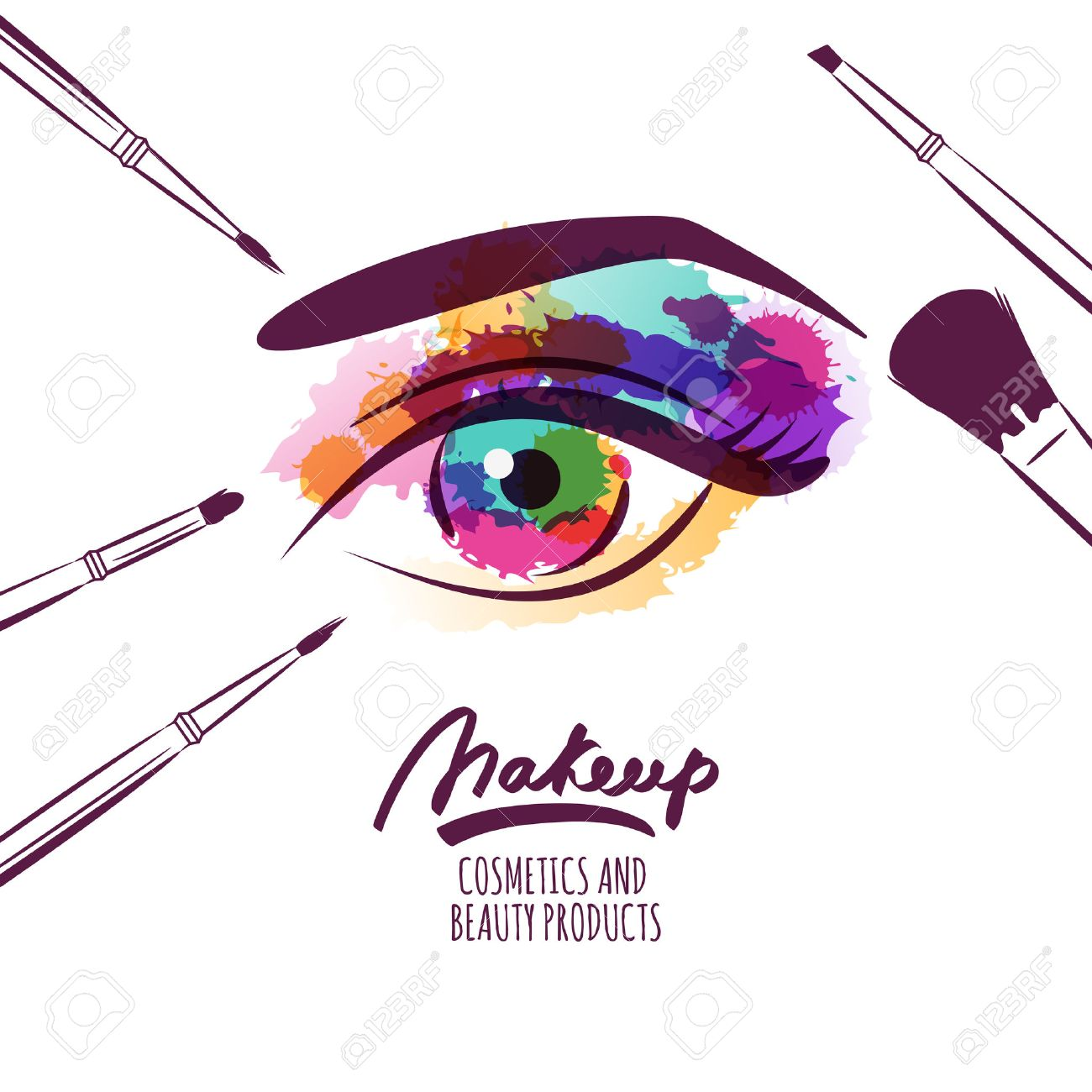 Vector - Vector watercolor hand drawn illustration of colorful womens eye  and makeup brushes. Watercolor background. Concept for beauty salon b01152ff0
