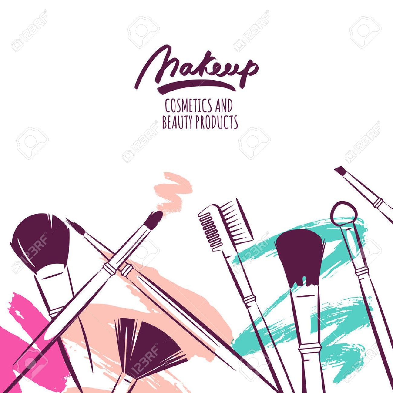 Watercolor hand drawn illustration of makeup brushes on colorful grunge background. Abstract vector banner design. Concept for beauty salon, cosmetics label, cosmetology procedures, visage and makeup. - 52176069