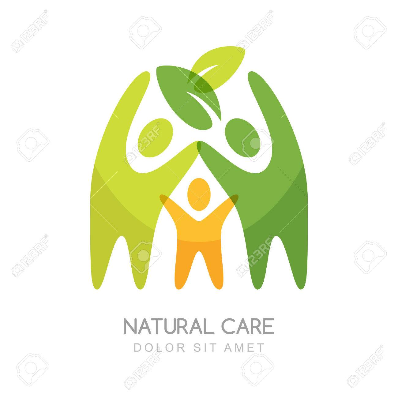 Abstract happy people silhouettes. Concept for natural health care, family wellness, ecology and protection nature. - 52176082