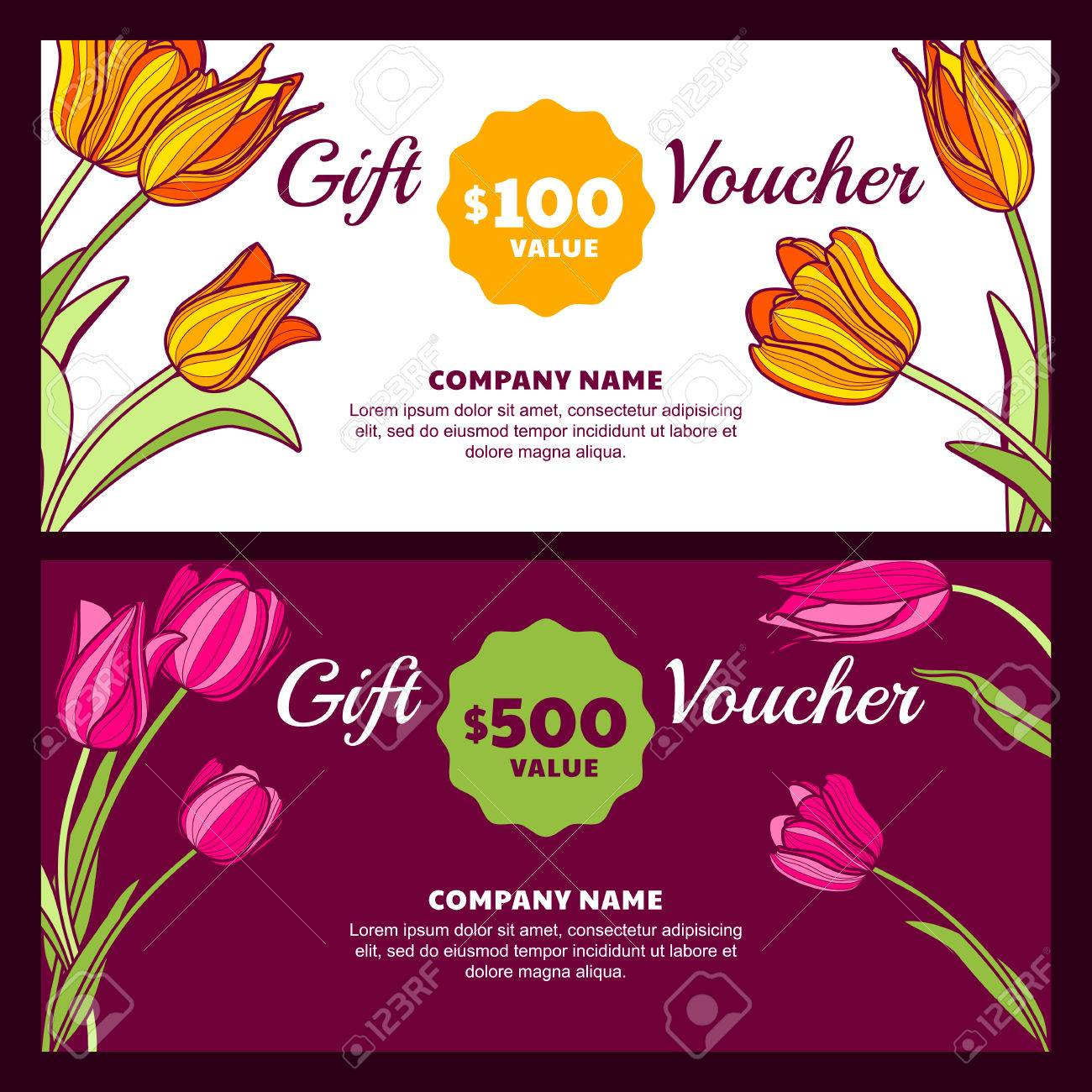 Vector floral gift voucher template colorful spring background vector floral gift voucher template colorful spring background with pink and yellow tulip flowers yadclub Images