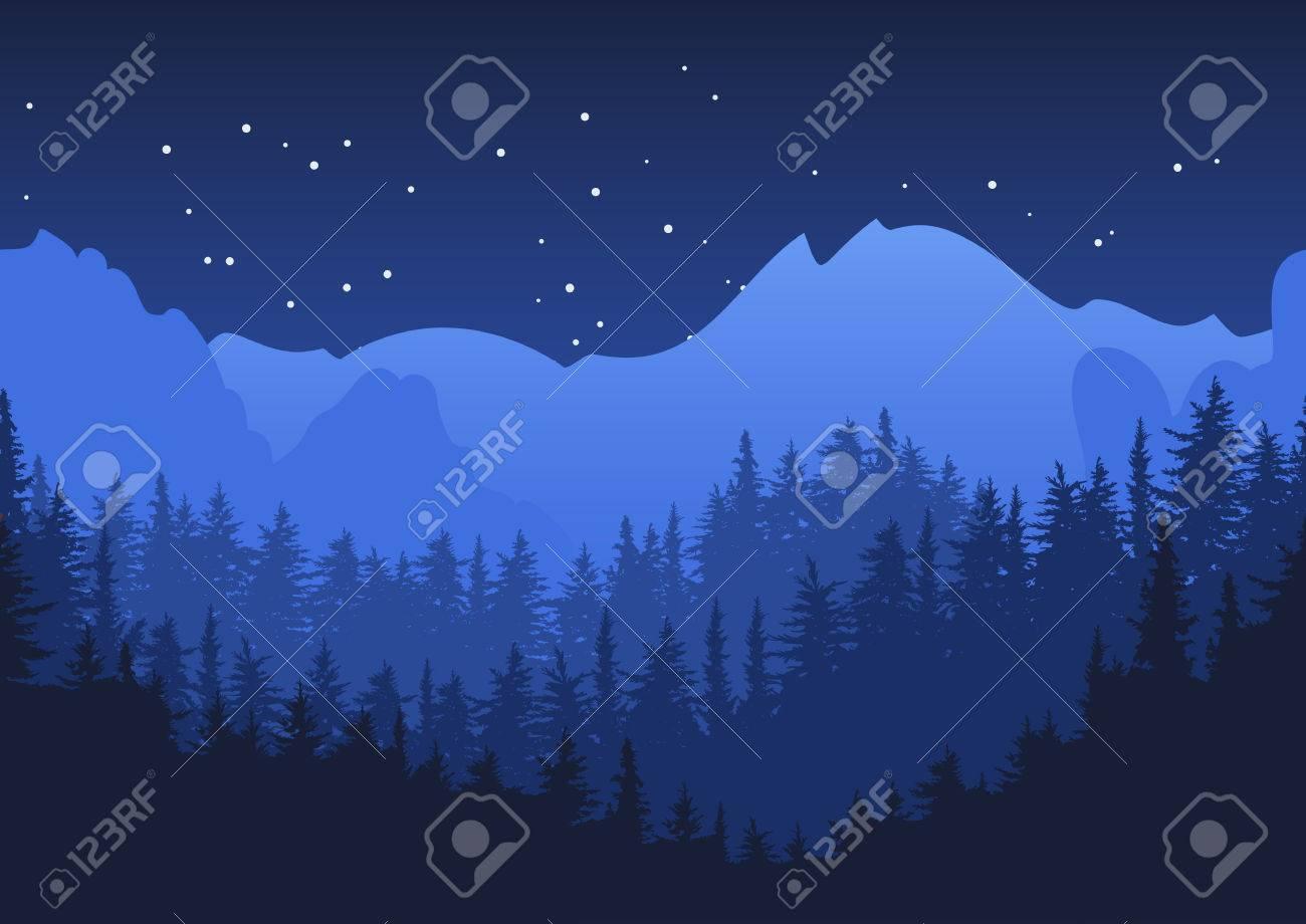 Nature horizontal seamless background. Blue night mountain landscape. Mysterious night sky. - 53653242
