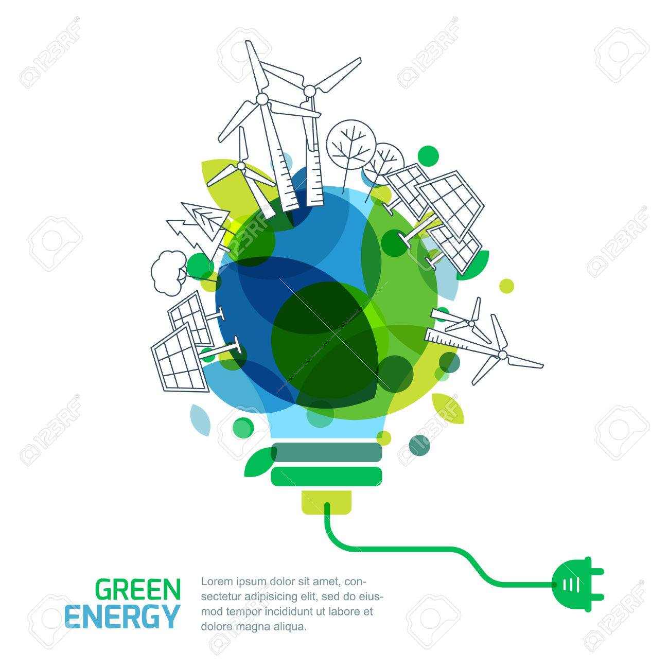 Energy saving concept. Vector illustration of light bulb with outline trees, alternative wind and solar energy generators. Green renewable energy and environmental. - 53653250