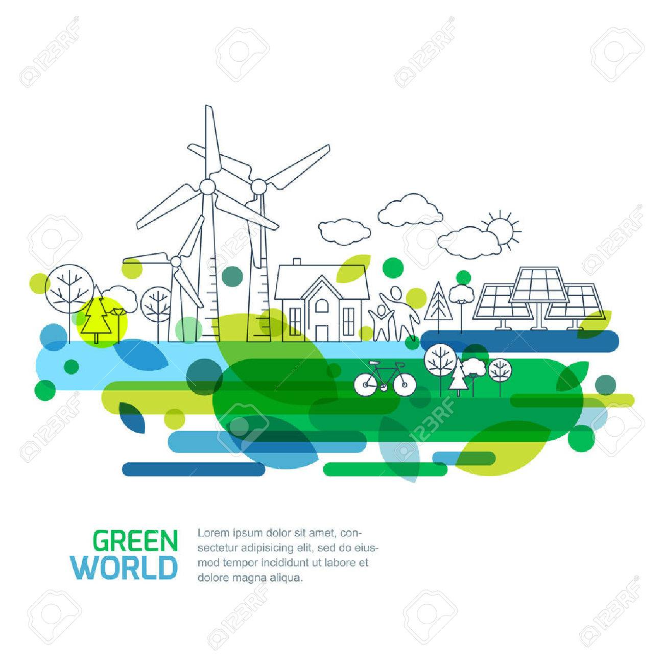 Green landscape illustration, isolated on white background. Saving nature and ecology concept. Vector linear trees, house, people and alternative energy generators. Design for save earth day. - 53653252