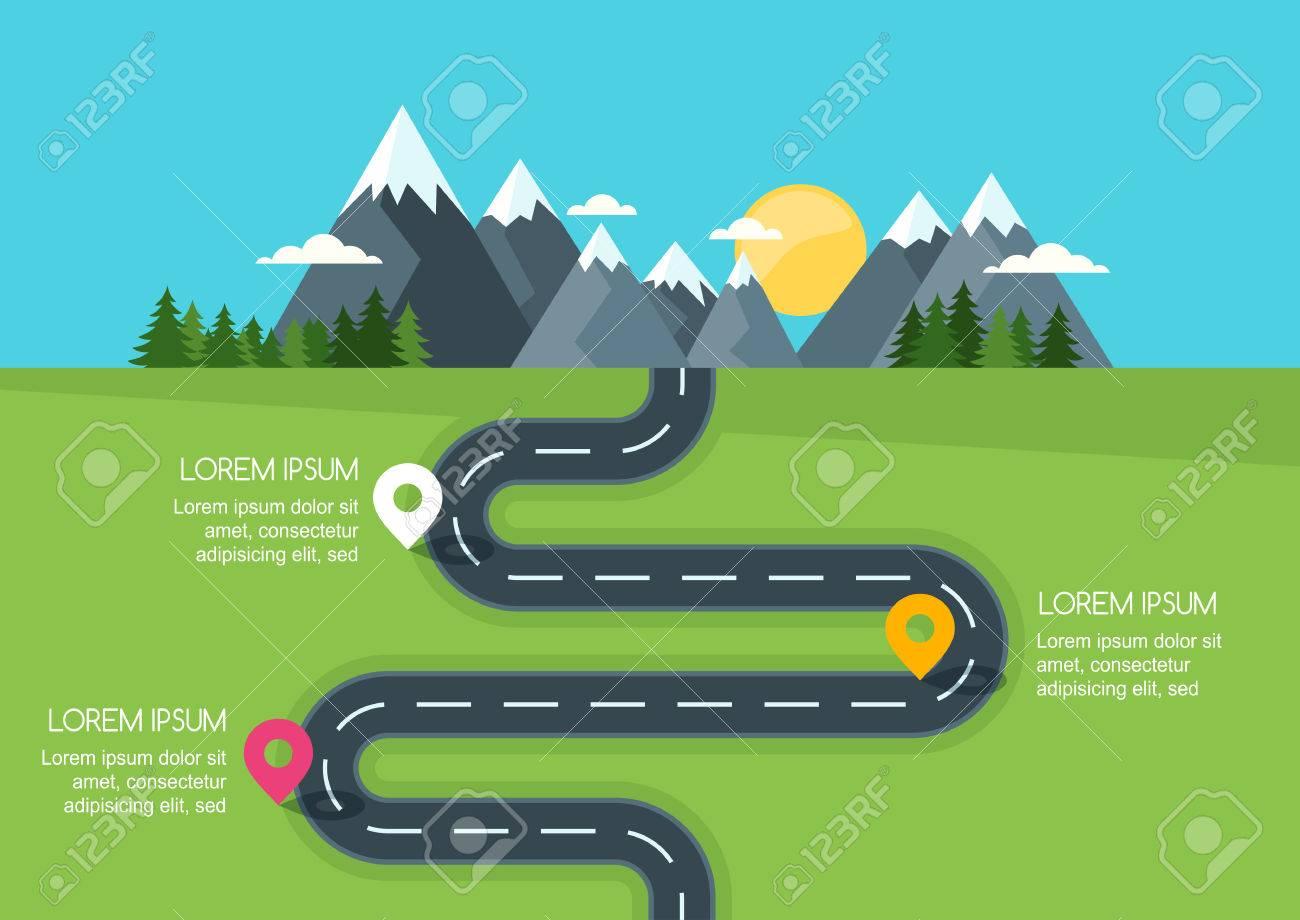 Camino Con La Plantilla De Marcadores, Infografía Vector. Camino De ...