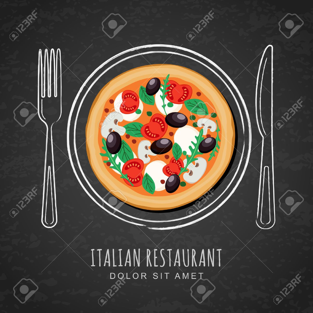 Italian pizza and hand drawing outline watercolor dish, fork and knife on textured black chalkboard background. Vector design for italian restaurant menu, cafe, pizzeria. Fast food background. - 54790172