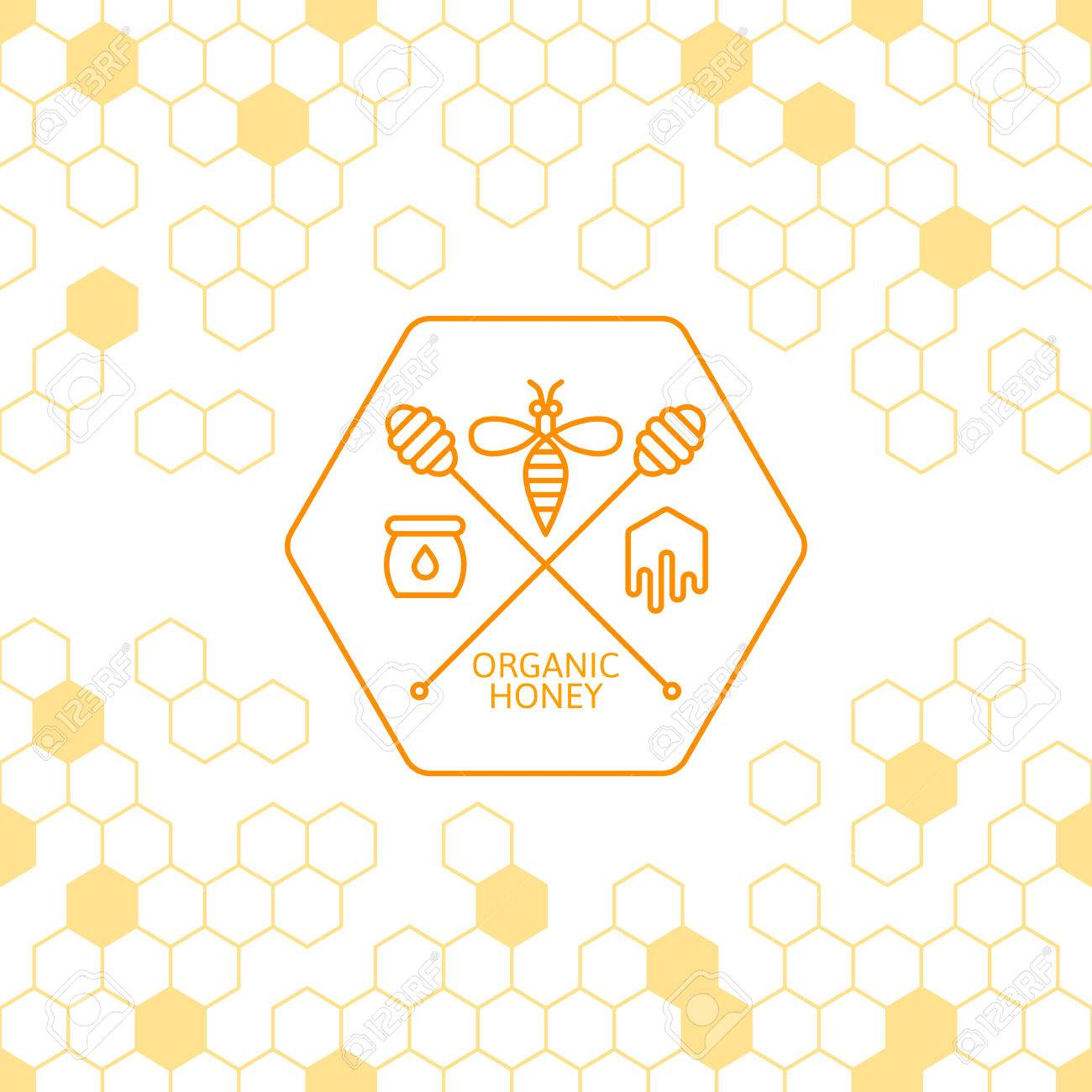 H tag background image - Honey Label Tag Sticker Design Elements Vector Seamless Background With Honeycombs Outline