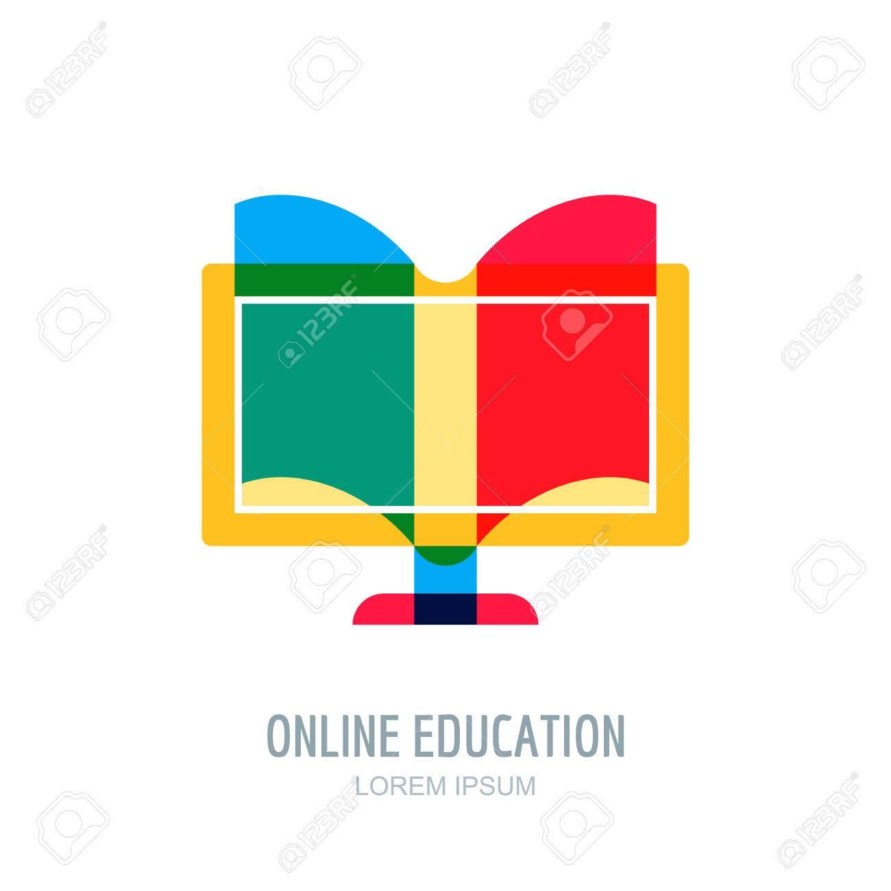 online distance education vector logo icon design template