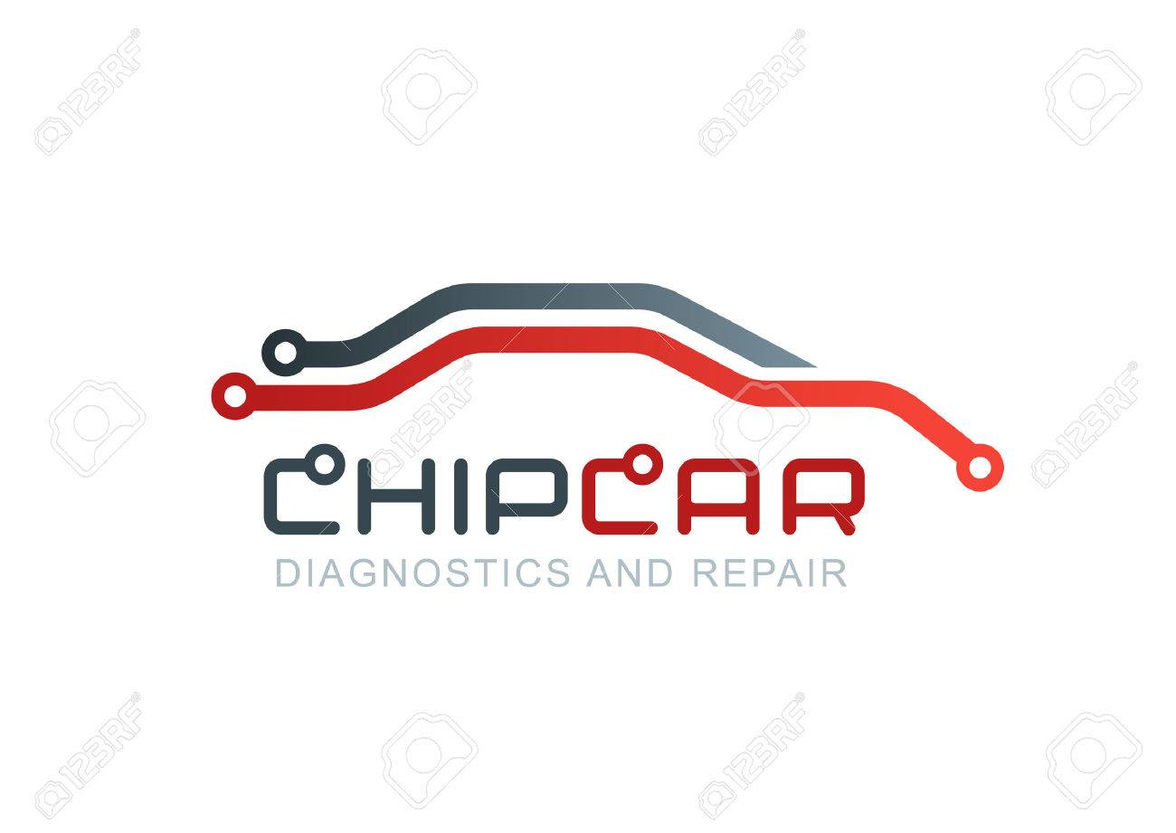Vector Logo With Abstract Car Line Silhouette Diagnostics And Electronic Circuit Design Services Repair Service Automobile Chip Or Scheme Symbol Concept For Diagnosis Of Electronics Board