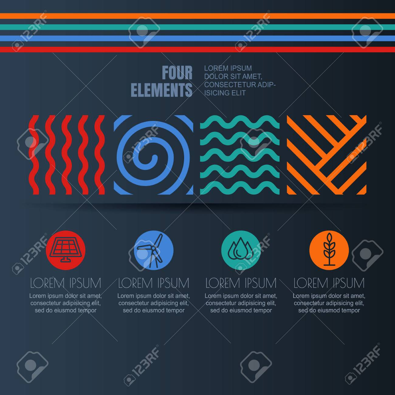 Vector Infographics Design Four Elements Abstract Linear Symbols
