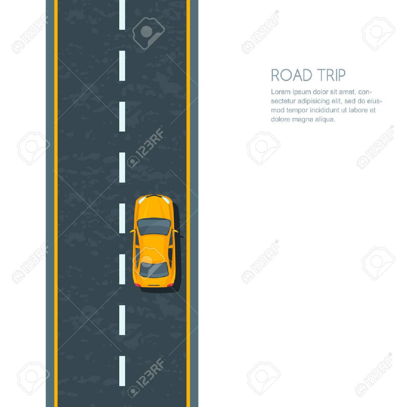 Vector illustration of highway and moving yellow car. Isolated road and automobile, top view. Road background with copy space. Street traffic and transport design concept. - 55628852