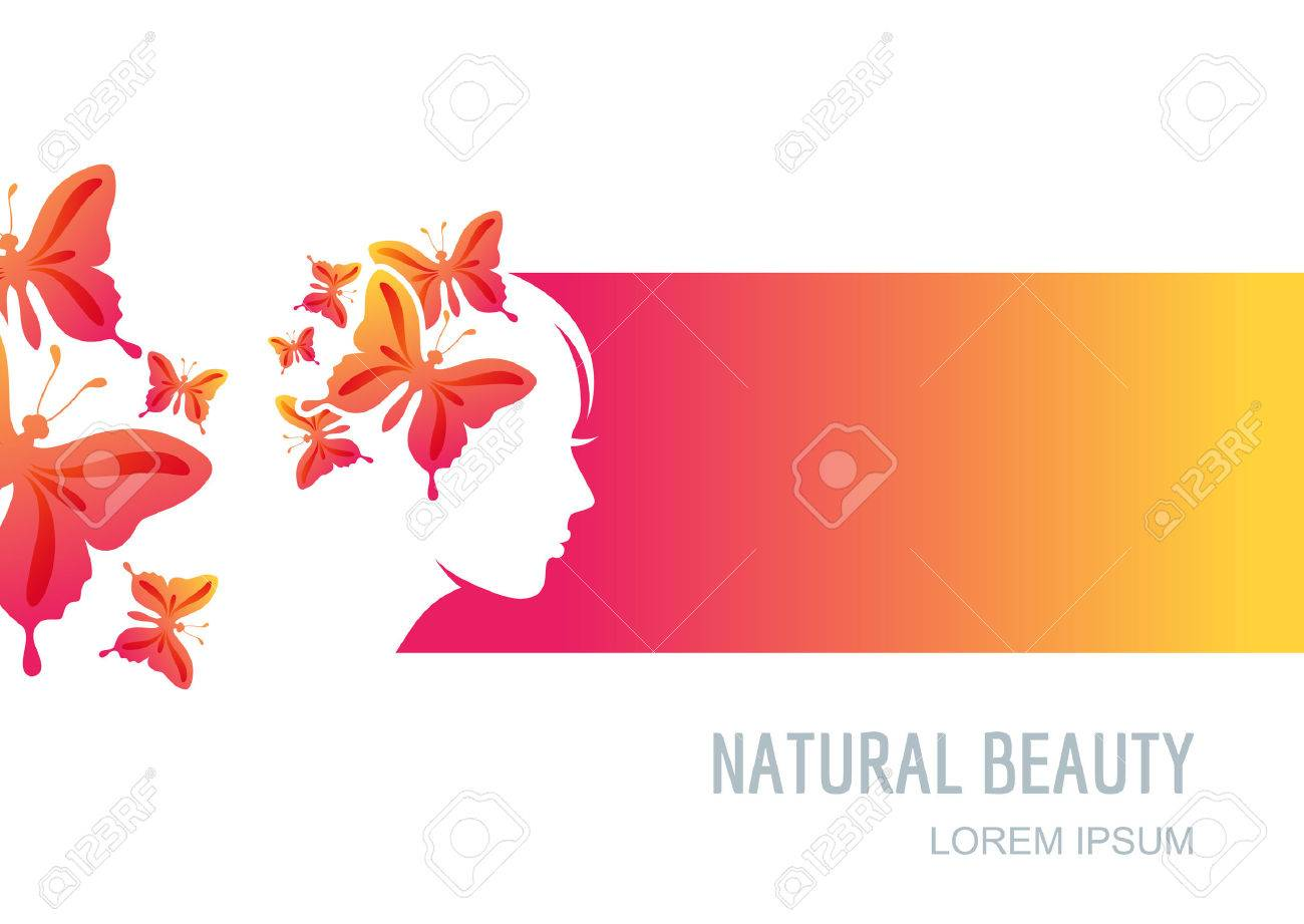 Female Face On Colorful Background Woman With Butterflies In