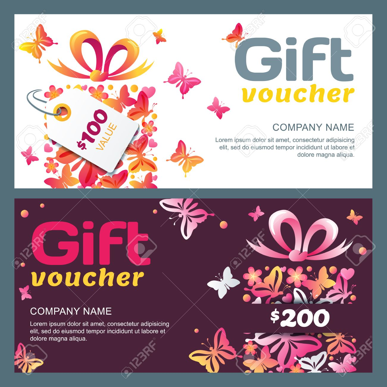 vector gift voucher template gift box and butterflies summer vector vector gift voucher template gift box and butterflies summer or spring holiday card abstract background concept for boutique floral shop