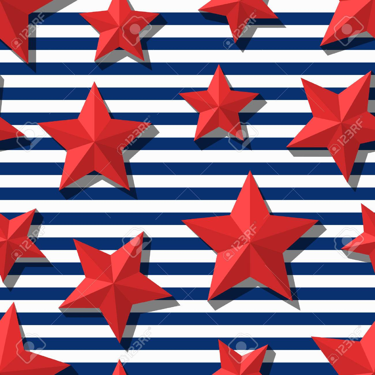 Vector Seamless Pattern With 3d Stylized Red Stars And Blue Navy